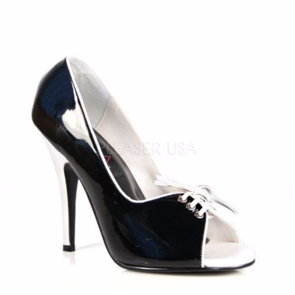 Product image of Pleaser SEDUCE-216 Black/White Patent 5 inch (12.7 cm) Pump With  Contrast Piping Bows