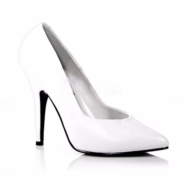 Product image of Pleaser SEDUCE-420 White Faux Leather 5 inch (12.7 cm) Classic Pump