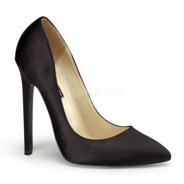 Product image of Pleaser SEXY-20 Black Satin 5 inch (12.7 cm) Stiletto Heel Pointy Toe Pump Court Pump Shoes