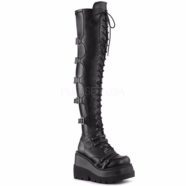 Product image of Demonia SHAKER-350 Black Veagn Faux Leather-Stretch 4 1/2 inch Wedge Platform Lace-Up Over-The Knee Boot Side Zip Knee High Boot