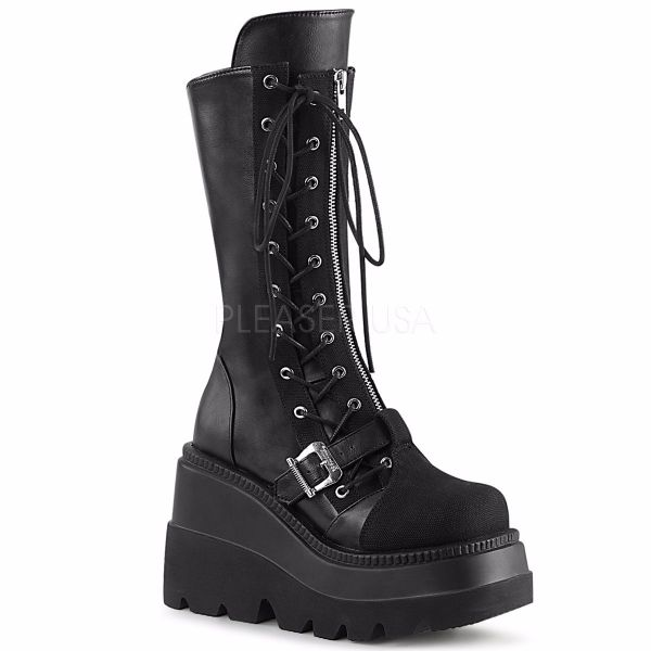 Product image of Demonia SHAKER-71 Black Vegan Faux Leather-Canvas 4 1/2 inch Wedge Platform Side Lace-Up Mid-Calf Boot Back Zip