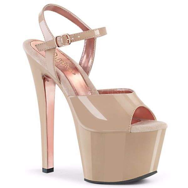 Product image of Pleaser SKY-309TT Nude Patent/Nude-Rose Gold Chrome 7 inch (17.8 cm) Heel 2 3/4 inch (7 cm) Platform Two Tone Ankle Strap Sandal Shoes