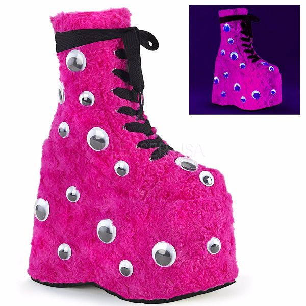 Product image of Demonia SLAY-206 Hot Pink Faux Fur 7 inch Platform Lace-Up Ankle Boot Side Zip