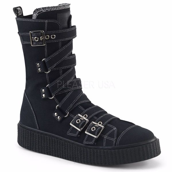 "Product image of Demonia SNEEKER-318 Black Canvas 1 1/2""Platform Round Toe Zig-Zag Buckles Calf High Creeper Sneaker"