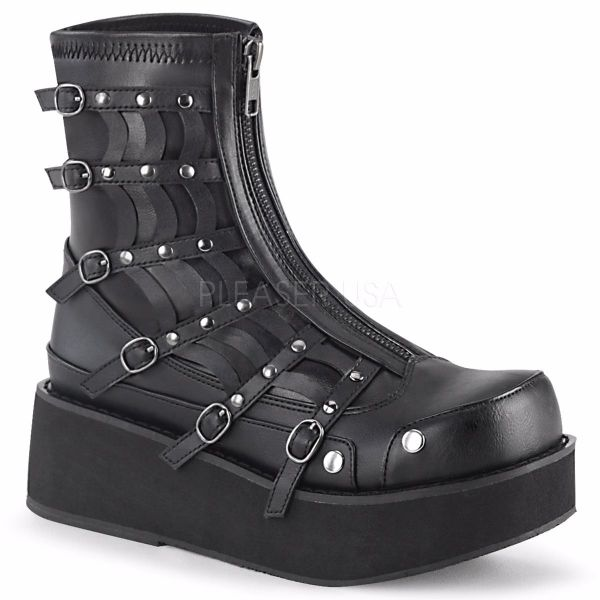 Product image of Demonia SPRITE-100 Black Veagn Faux Leather-Stretch 2 1/4 inch Platform Zip Front Ankle Boot