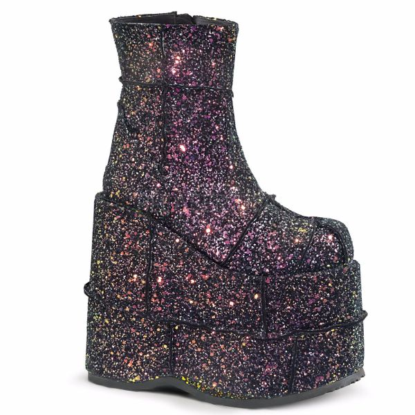 Product image of Demonia STACK-201G Black Multicolour Glitter 7 inch Platform Ankle Boot Side Zip