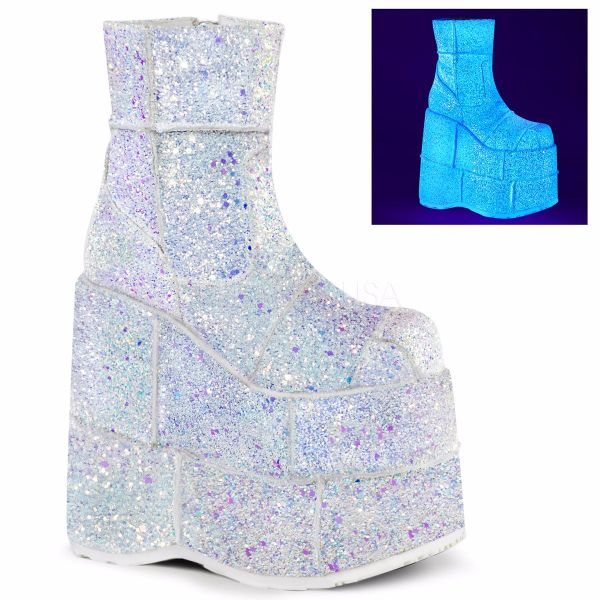 Product image of Demonia STACK-201G White Multicolour Glitter 7 inch Platform Ankle Boot Side Zip