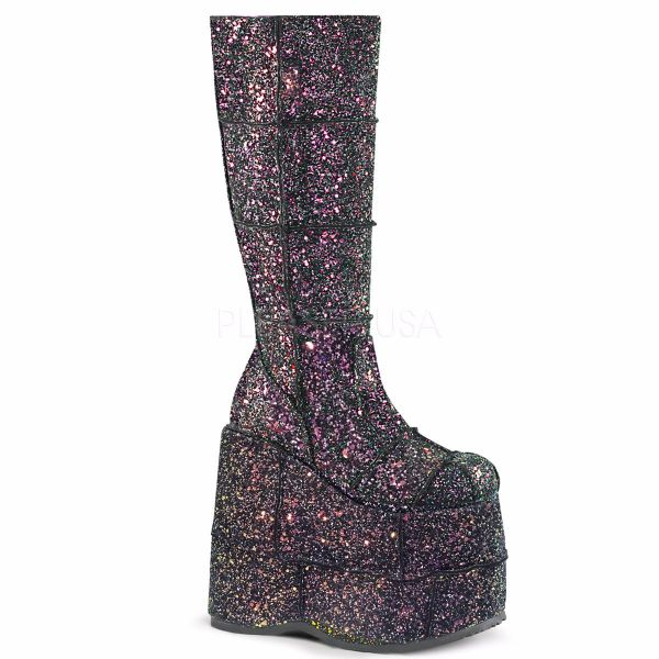 Product image of Demonia STACK-301G Black Multicolour Glitter 7 inch Platform Knee High Boot Side Zip