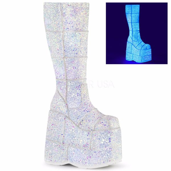 Product image of Demonia STACK-301G White Multicolour Glitter 7 inch Platform Knee High Boot Side Zip