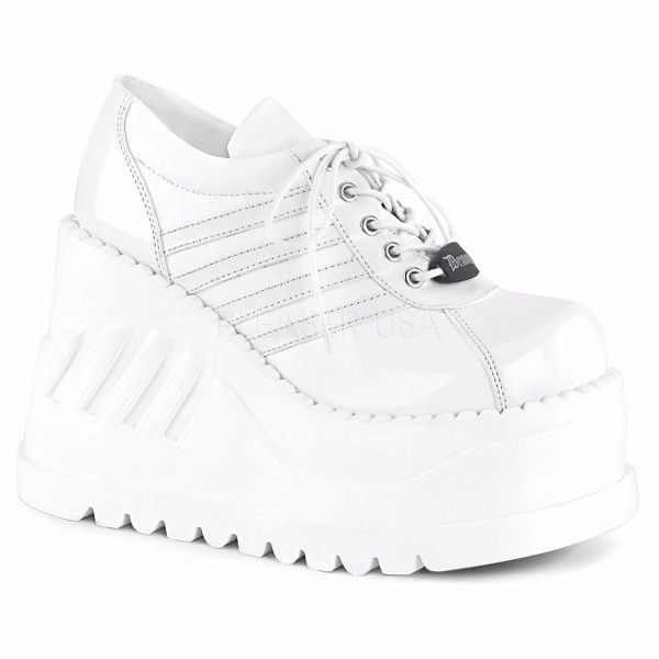 Product image of Demonia STOMP-08 White Patent-Vegan Faux Leather 4 3/4 inch Wedge Platform Lace-Up Shoe