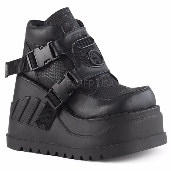 Product image of Demonia STOMP-15 Black Vegan Faux Leather 4 3/4 inch Wedge Platform Bootie With Snap Buckles Detail