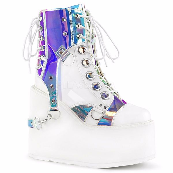 Product image of Demonia SWING-115 White Vegan Faux Leather-Patent-Magic Mirror Polyurethane (Pu) 5 1/2 inch Platform Lace-Up Ankle Boot With  Polyurethane (Pu) Harnesss Side Zip