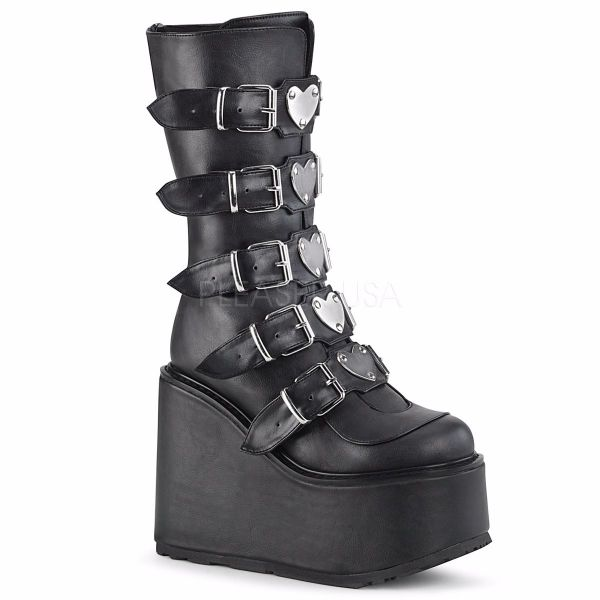 Product image of Demonia SWING-230 Black Vegan Faux Leather 5 1/2 inch Platform Mid-Calf Boot With  5 Buckles Straps Back Metal Zip