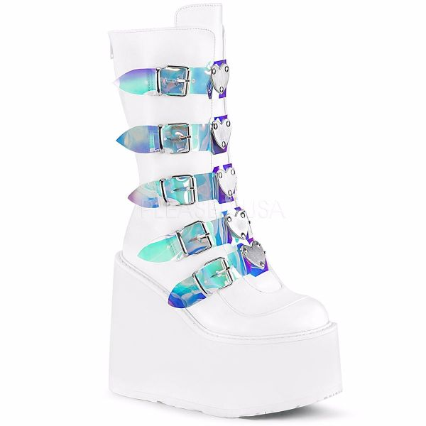 Product image of Demonia SWING-230 White Vegan Faux Leather 5 1/2 inch Platform Mid-Calf Boot With  5 Buckles Straps Back Metal Zip
