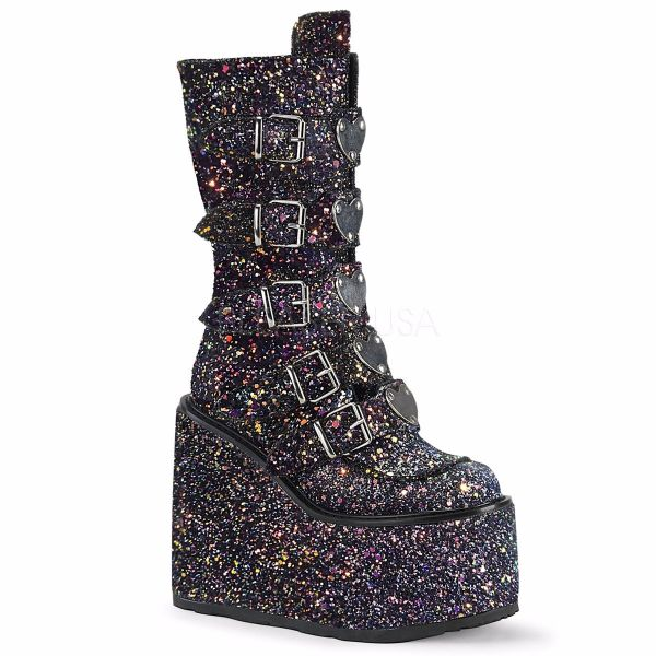 Product image of Demonia SWING-230G Black Multicolour Glitter 5 1/2 inch Platform Mid-Calf Boot With  5 Buckles Straps Back Metal Zip