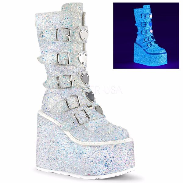 Product image of Demonia SWING-230G White Multicolour Glitter 5 1/2 inch Platform Mid-Calf Boot With  5 Buckles Straps Back Metal Zip