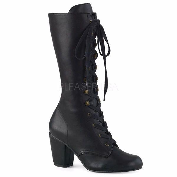 Product image of Demonia VIVIKA-205 Black Vegan Faux Leather 3 inch (7.6 cm) Block Heel Round Toe Lace-Up Mid-Calf Boot Size Zip