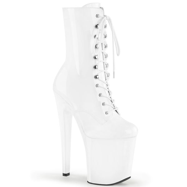 Product image of Pleaser XTREME-1020 White Patent/White 8 inch (20.4 cm) Heel 4 inch (10.2 cm) Platform Lace-Up Ankle Boot Side Zip
