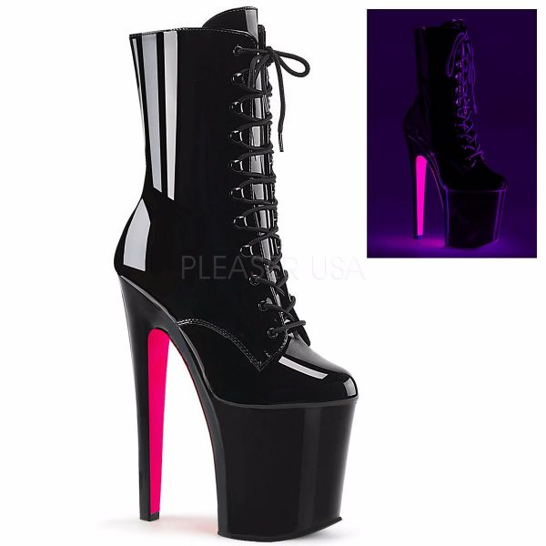Product image of Pleaser XTREME-1020TT Black Patent/Black-Neon Hot Pink 8 inch (20 cm) Heel 4 inch (10 cm) Platform Lace-Up Two Tone Ankle Boot Side Zip