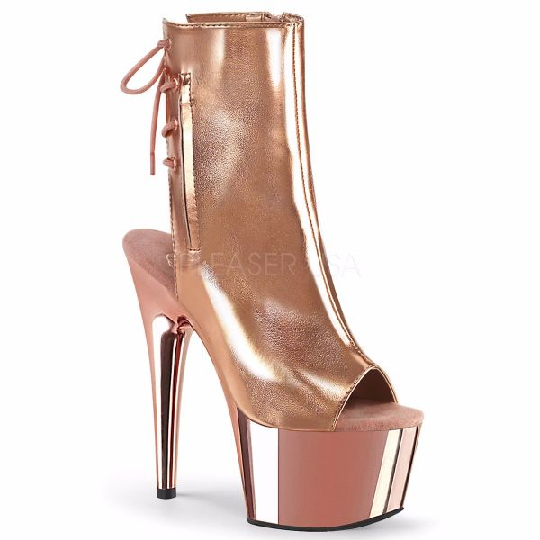 Product image of Pleaser ADORE-1018 Rose Gold Metallic Polyurethane (Pu)/Rose Gold Chrome 7 inch (17.8 cm) Heel 2 3/4 inch (7 cm) Platform Open Toe/Heel Ankle Boot Side Zip