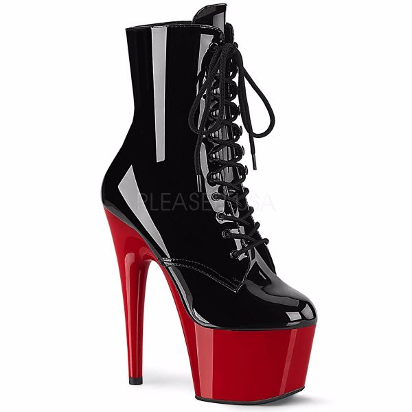 Product image of Pleaser ADORE-1020 Black Patent/Red 7 inch (17.8 cm) Heel 2 3/4 inch (7 cm) Platform Two Tone Lace-Up Ankle Boot Side Zip