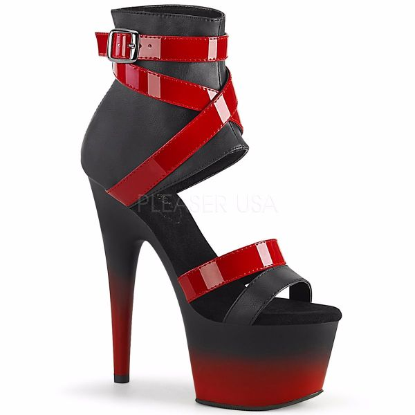 Product image of Pleaser ADORE-700-15 Black Faux Leather-Red Patent/Black-Red Matte 7 inch (17.8 cm) Heel 2 3/4 inch (7 cm) Platform Two Tone Bootie Sandal Back Zip Shoes