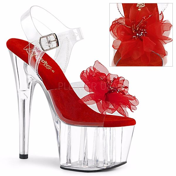 Product image of Pleaser ADORE-708BFL Clear-Red/Clear 7 inch (17.8 cm) Heel 2 3/4 inch (7 cm) Platform Ankle Strap Sandal With  Beaded Flower Shoes