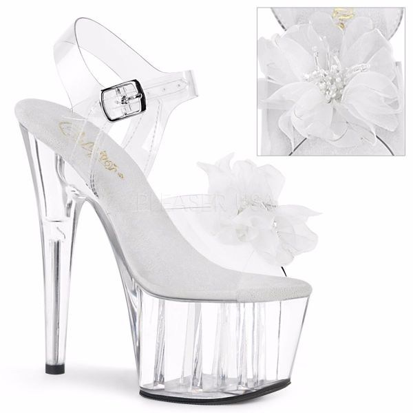 Product image of Pleaser ADORE-708BFL Clear-White/Clear 7 inch (17.8 cm) Heel 2 3/4 inch (7 cm) Platform Ankle Strap Sandal With  Beaded Flower Shoes
