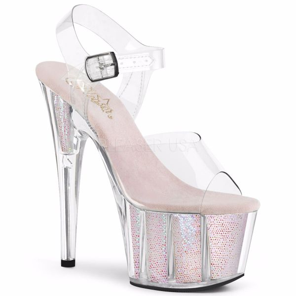 Product image of Pleaser ADORE-708G Clear/Multicolour Glitter Inserts 7 inch (17.8 cm) Heel 2 3/4 inch (7 cm) Platform Ankle Strap Sandal With  Glitter Inserts Shoes