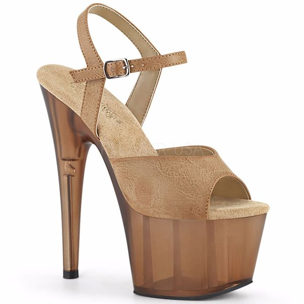 Product image of Pleaser ADORE-709T Camel Faux Leather/Frosted Brown 7 inch (17.8 cm) Heel 2 3/4 inch (7 cm) Platform Ankle Strap Sandal Shoes