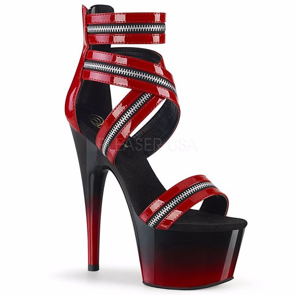 Product image of Pleaser ADORE-766 Red Patent/Black-Red 7 inch (17.8 cm) Heel 2 3/4 inch (7 cm) Platform Ankle Strap Sandal