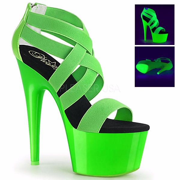 Product image of Pleaser ADORE-769UV Neon Green Elastic Band-Patent/Neon Green 7 inch (17.8 cm) Heel 2 3/4 inch (7 cm) Platform Blacklight (Uv) Reactive Criss Cross Sandal Back Zip