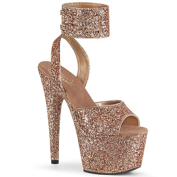 Product image of Pleaser ADORE-791LG Rose Gold Glitter/Rose Gold Glitter 7 inch (17.8 cm) Heel 2 3/4 inch (7 cm) Platform Glitter Ankle Strap Sandal Shoes