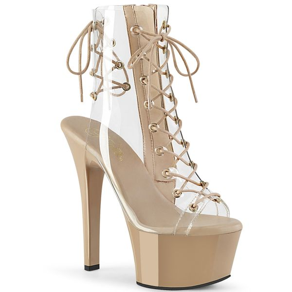 Product image of Pleaser ASPIRE-600-30 Clear/Nude 6 inch (15.2 cm) Heel 2 1/4 inch (5.7 cm) Platform Lace-Up Ankle Boot Side Zip