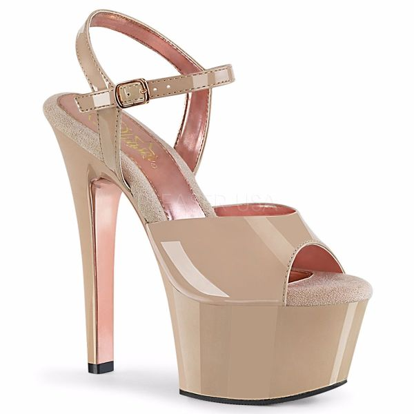 Product image of Pleaser ASPIRE-609TT Nude Patent/Nude-Rose Gold Chrome 6 inch (15.2 cm) Heel 2 1/4 inch (5.7 cm) Platform Two Tone Ankle Strap Sandal Shoes
