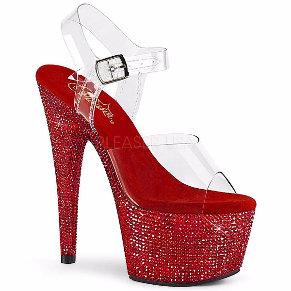 Product image of Pleaser BEJEWELED-708DM Clear/Red Rhinestones 7 inch (17.8 cm) Heel 2 3/4 inch (7 cm) Platform Ankle Strap Sandal With  Rhinestones Shoes