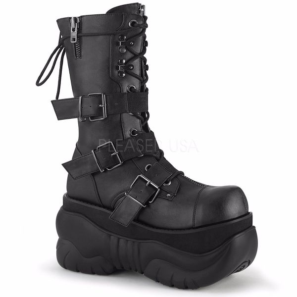 Product image of Demonia BOXER-230 Black Vegan Faux Leather 4 inch Platform Lace-Up  Mid Calf Boot Back Metal Zip