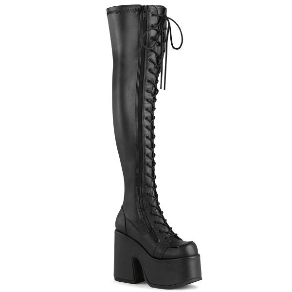 Product image of Demonia CAMEL-300 Black Stretch Vegan Faux Leather 5 inch (12.7 cm) Chunky Heel 3 inch (7.6 cm) Platform Lace-Up Thigh-High Boot Outside Zip