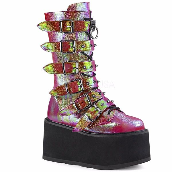 Product image of Demonia DAMNED-225 Pink-Green Iridescent Vegan Faux Leather 3 1/2 inch Platform Mid-Calf Boot With  6 Buckles Straps Metal Side Zip