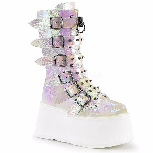 Product image of Demonia DAMNED-225 Pearl Iridescent Vegan Faux Leather 3 1/2 inch Platform Mid-Calf Boot With  6 Buckles Straps Metal Side Zip