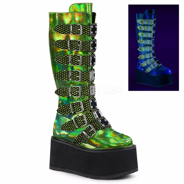 Product image of Demonia DAMNED-318 Lime Green Holographic Vegan Faux Leather 3 1/2 inch Platform Knee High Boot With  8 Buckles Straps Back Metal Zip