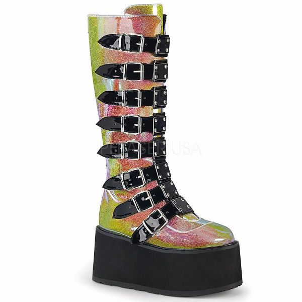 Product image of Demonia DAMNED-318 Pink Shifting Glitter Vegan Faux Leather 3 1/2 inch Platform Knee High Boot With  8 Buckles Straps Back Metal Zip