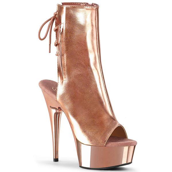 Product image of Pleaser DELIGHT-1018 Rose Gold Metallic Polyurethane (Pu)/Rose Gold Chrome 6 inch (15.2 cm) Heel 1 3/4 inch (4.5 cm) Platform Open Toe/Heel Platform Ankle Boot Side Zip