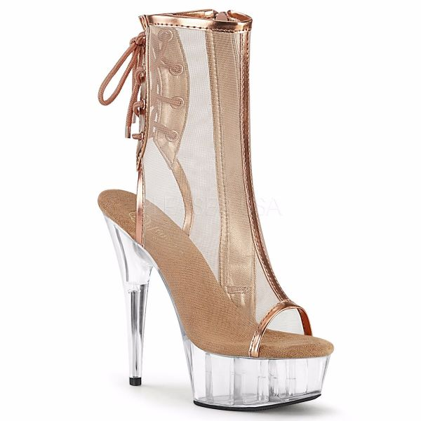 Product image of Pleaser DELIGHT-1018MSH Rose Gold Metallic Polyurethane (Pu)-Mesh/Clear 6 inch (15.2 cm) Heel 1 3/4 inch (4.5 cm) Platform Open Toe/Heel Mesh Ankle Boot Side Zip