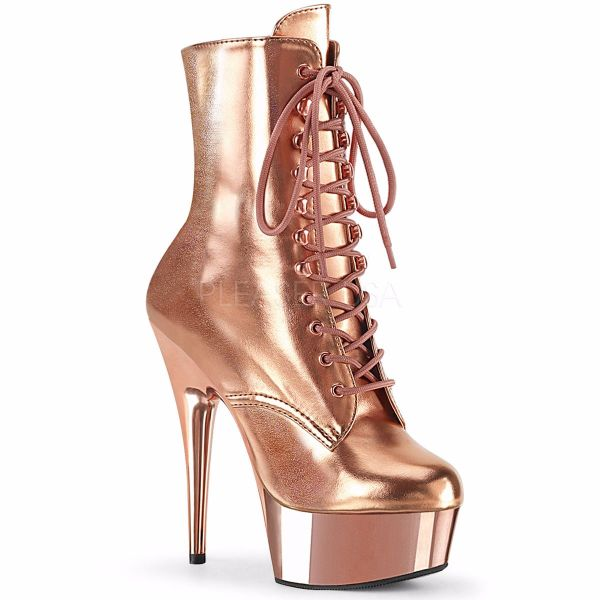 Product image of Pleaser DELIGHT-1020 Rose Gold Metallic Polyurethane (Pu)/Rose Gold Chrome 6 inch (15.2 cm) Heel 1 3/4 inch (4.5 cm) Platform Lace-Up Ankle Boot Side Zip