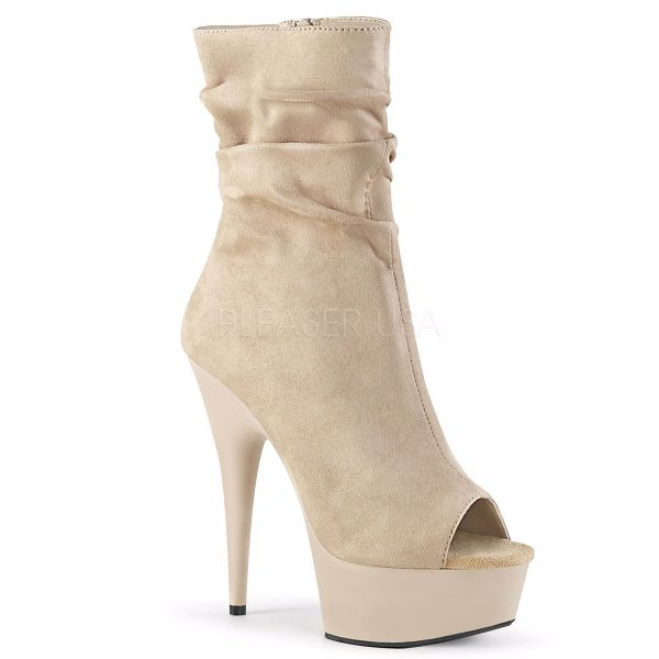 Product image of Pleaser DELIGHT-1031 Beige Faux Suede/Beige Matte 6 inch (15.2 cm) Heel 1 3/4 inch (4.5 cm) Platform Open Toe Slouch Ankle Boot Side Zip