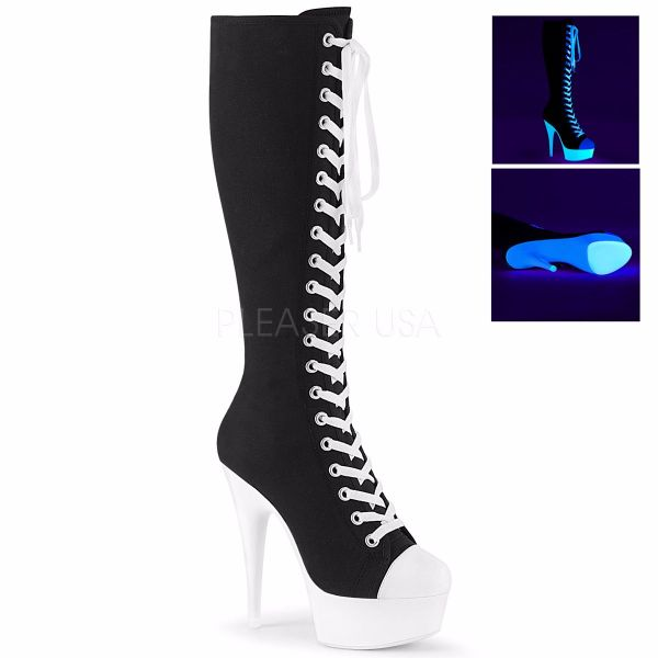 Product image of Pleaser DELIGHT-2000SK-02 Black Canvas-White Faux Leather/Neon White 6 inch (15.2 cm) Heel 1 3/4 inch (4.5 cm) Platform Lace-Up Knee High Sneaker Boot Back Zip
