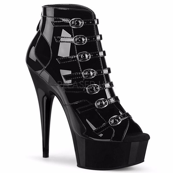 Product image of Pleaser DELIGHT-600-11 Black Patent/Black 6 inch (15.2 cm) Heel 1 3/4 inch (4.5 cm) Platform Buckles-Up Strappy Ankle Bootie Back Zip