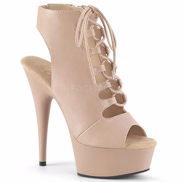 Product image of Pleaser DELIGHT-600-20 Nude Faux Leather/Nude Matte 6 inch (15.2 cm) Heel 1 3/4 inch (4.5 cm) Platform Front Lace-Up Ankle Bootie Side Zip