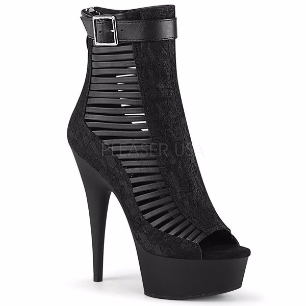 Product image of Pleaser DELIGHT-600-27LC Black Faux Leather-Fabric/Black Matte 6 inch (15.2 cm) Heel 1 3/4 inch (4.5 cm) Platform Open Toe Strappy Ankle Bootie Back Zip